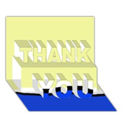 Yellow and blue simple design THANK YOU 3D Greeting Card (7x5)