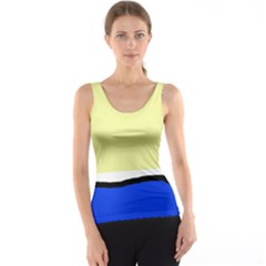Yellow and blue simple design Tank Top