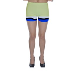 Yellow and blue simple design Skinny Shorts