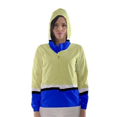 Yellow and blue simple design Hooded Wind Breaker (Women)