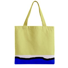Yellow and blue simple design Zipper Grocery Tote Bag