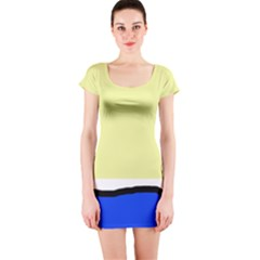 Yellow and blue simple design Short Sleeve Bodycon Dress