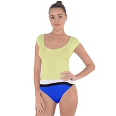 Yellow and blue simple design Short Sleeve Leotard