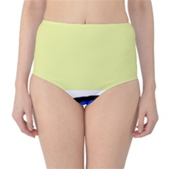 Yellow and blue simple design High-Waist Bikini Bottoms