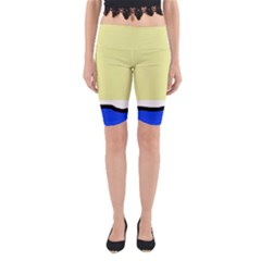Yellow and blue simple design Yoga Cropped Leggings