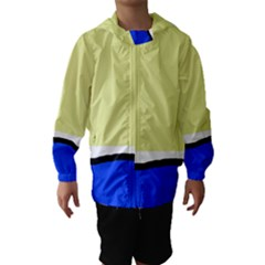 Yellow And Blue Simple Design Hooded Wind Breaker (kids)