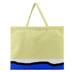 Yellow and blue simple design Zipper Large Tote Bag