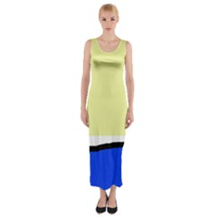 Yellow and blue simple design Fitted Maxi Dress