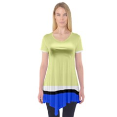 Yellow and blue simple design Short Sleeve Tunic