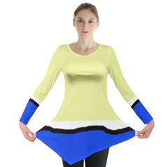 Yellow and blue simple design Long Sleeve Tunic