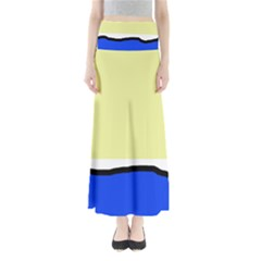 Yellow and blue simple design Maxi Skirts