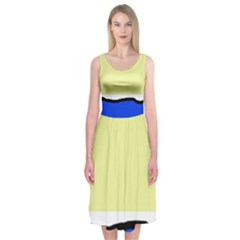 Yellow and blue simple design Midi Sleeveless Dress