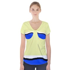 Yellow and blue simple design Short Sleeve Front Detail Top