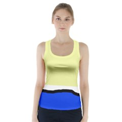 Yellow And Blue Simple Design Racer Back Sports Top