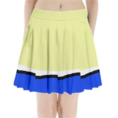 Yellow And Blue Simple Design Pleated Mini Mesh Skirt
