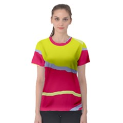 Red and yellow design Women s Sport Mesh Tee