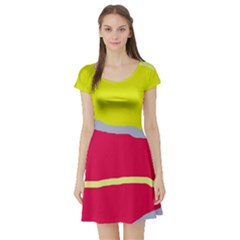 Red and yellow design Short Sleeve Skater Dress