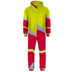 Red And Yellow Design Hooded Jumpsuit (men)