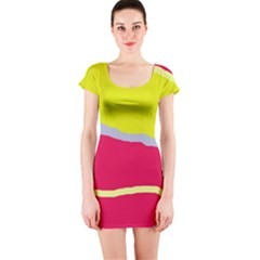 Red and yellow design Short Sleeve Bodycon Dress