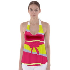 Red and yellow design Babydoll Tankini Top