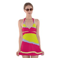 Red and yellow design Halter Swimsuit Dress
