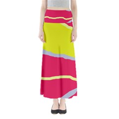 Red and yellow design Maxi Skirts