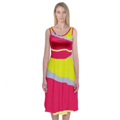 Red And Yellow Design Midi Sleeveless Dress