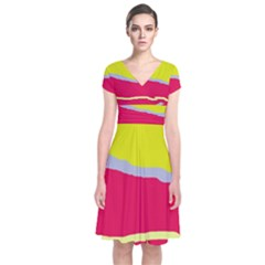 Red and yellow design Short Sleeve Front Wrap Dress