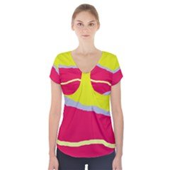 Red And Yellow Design Short Sleeve Front Detail Top