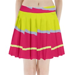Red And Yellow Design Pleated Mini Mesh Skirt