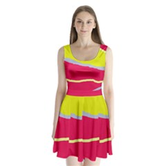 Red and yellow design Split Back Mini Dress