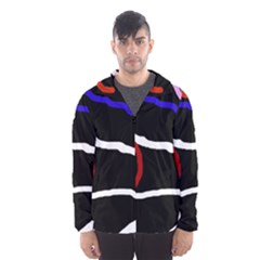 Decorative lines Hooded Wind Breaker (Men)