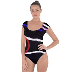 Decorative lines Short Sleeve Leotard