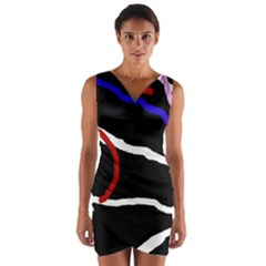 Decorative lines Wrap Front Bodycon Dress