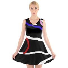 Decorative lines V-Neck Sleeveless Skater Dress
