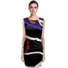 Decorative lines Classic Sleeveless Midi Dress