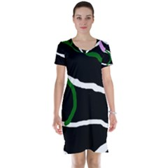 Decorative lines Short Sleeve Nightdress