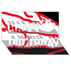 Red, black and white design Happy Birthday 3D Greeting Card (8x4)