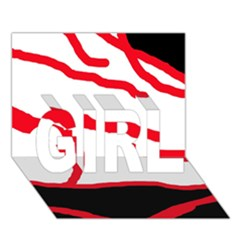 Red, black and white design GIRL 3D Greeting Card (7x5)