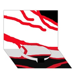 Red, black and white design Circle Bottom 3D Greeting Card (7x5)