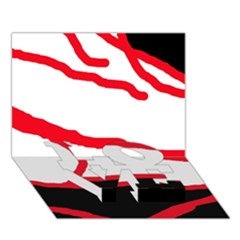 Red, black and white design LOVE Bottom 3D Greeting Card (7x5)