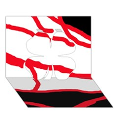 Red, black and white design Clover 3D Greeting Card (7x5)