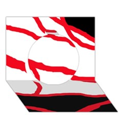 Red, black and white design Circle 3D Greeting Card (7x5)