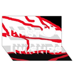 Red, black and white design Best Wish 3D Greeting Card (8x4)