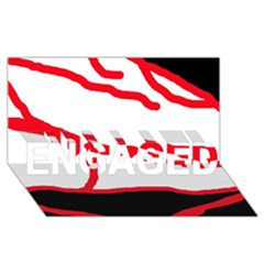 Red, black and white design ENGAGED 3D Greeting Card (8x4)