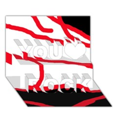 Red, Black And White Design You Rock 3d Greeting Card (7x5)