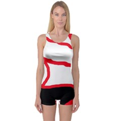 Red, black and white design One Piece Boyleg Swimsuit