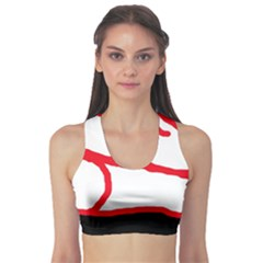 Red, black and white design Sports Bra