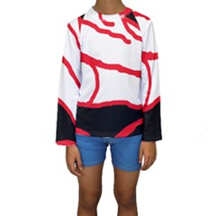 Red, Black And White Design Kid s Long Sleeve Swimwear