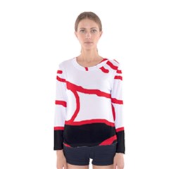 Red, black and white design Women s Long Sleeve Tee